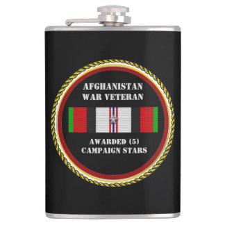 5 CAMPAIGN STARS AFGHANISTAN WAR VETERAN HIP FLASK