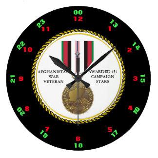 5 CAMPAIGN STARS AFGHANISTAN WAR VETERAN LARGE CLOCK
