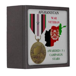 5 CAMPAIGN STARS AFGHANISTAN WAR VETERAN PREMIUM KEEPSAKE BOX