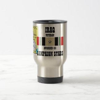 5 CAMPAIGN STARS IRAQ VETERAN TRAVEL MUG