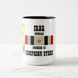 5 CAMPAIGN STARS IRAQ VETERAN Two-Tone COFFEE MUG