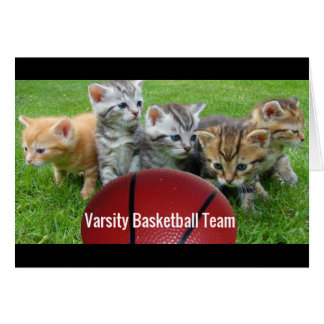 5 Cats Form a Basketball Team Card