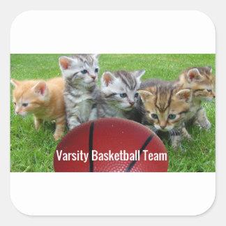 5 Cats Form a Basketball Team Square Sticker