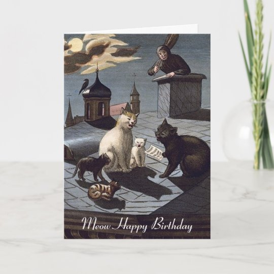 5 Cats Singing On A Roof At Night Birthday Card