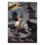 5 Cats singing on a roof at night birthday card at Zazzle