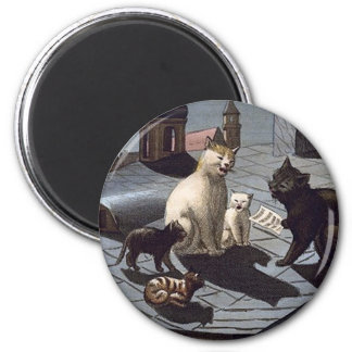 5 Cats with music sheet singing on a roof at night 2 Inch Round Magnet