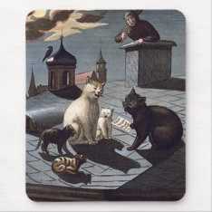 5 Cats with music sheet singing on a roof at night Mouse Pad at Zazzle