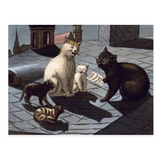 5 Cats With Music Sheet Singing On A Roof At Night Postcard at Zazzle
