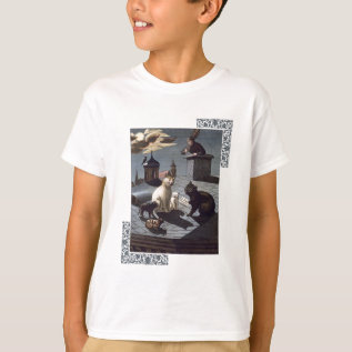 5 Cats With Music Sheet Singing On A Roof At Night T-shirt at Zazzle