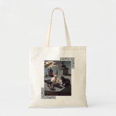 5 Cats with music sheet singing on a roof at night Tote Bag at Zazzle