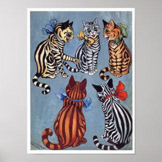 5 Charming Cats Louis Wain Poster