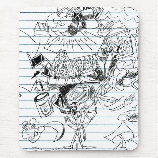 5 Clouds Pen Doodle Notebook Paper Sketch Mouse Pads