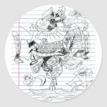 5 Clouds Pen Doodle Notebook Paper Sketch Classic Round Sticker