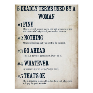 5 Deadly Terms Used By A Woman - Poster