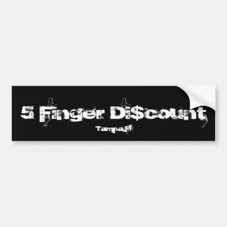 5 dedo Di$count, Tampa, la Florida Pegatina Para Auto