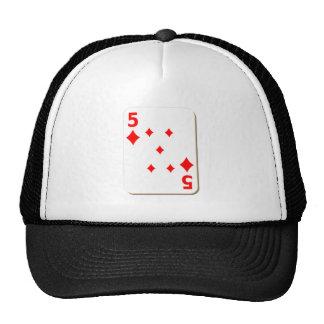 5 del naipe de los diamantes gorras de camionero