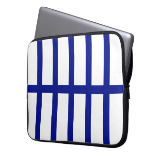 5 Divided Blue Stripes Laptop Sleeve