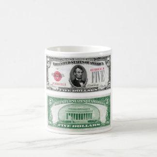 $5 Dollar Legal Tender Banknote Series 1928 Coffee Mugs