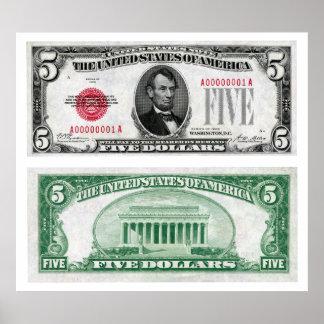 $5 Dollar Legal Tender Banknote Series 1928 Poster