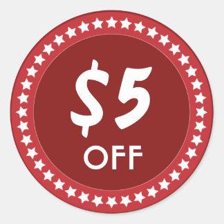 5 Dollar OFF Sales Discount Red Sticker