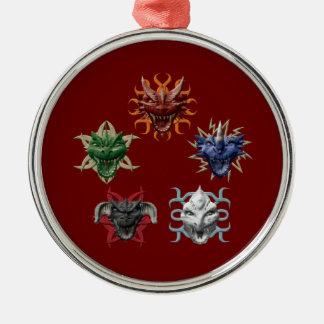 5 Dragons Metal Ornament