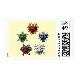 5 Dragons Postage Stamps