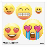 5 Emoji Faces Circle Wall Decals - Fangirl, Happy