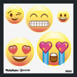 """5 Emoji Faces Circle Wall Decals - Fangirl, Happy<br><div class=""""desc"""">Super,  Happy,  Awesome emojis for your room,  locker and more!</div>"""
