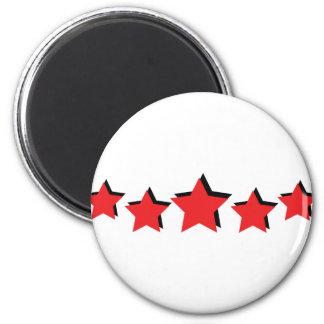 5 estrellas rojas de lujo imán redondo 5 cm