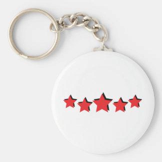 5 estrellas rojas de lujo llavero redondo tipo pin