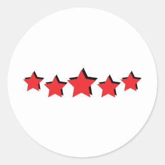 5 estrellas rojas de lujo pegatina redonda