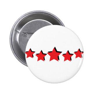 5 estrellas rojas de lujo pin redondo 5 cm