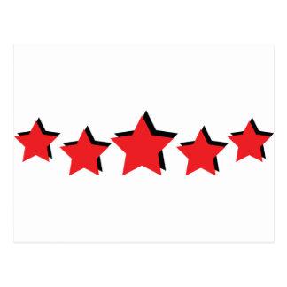 5 estrellas rojas de lujo postales