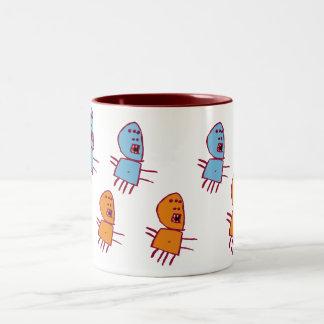 5 eyed Monster Two-Tone Coffee Mug