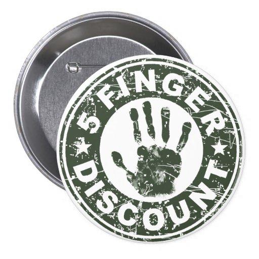5 Finger Discount Logo - Green Tea Pin