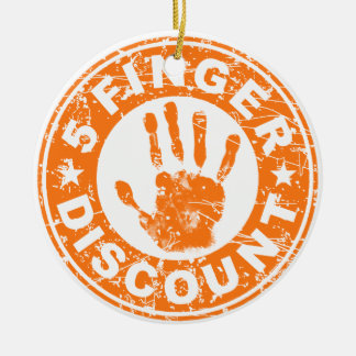 5 Finger Discount Logo Orange Christmas Tree Ornaments