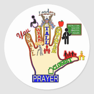 5 FIVE FINGER PRAYER AID CLASSIC ROUND STICKER