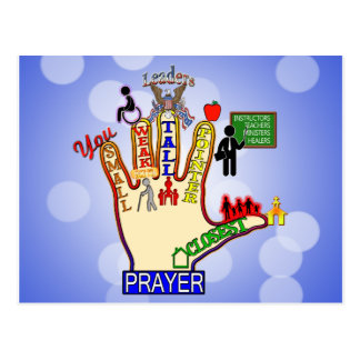 5 FIVE FINGER PRAYER AID POST CARDS