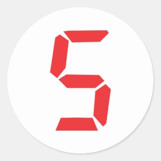 5 five  red alarm clock digital number classic round sticker