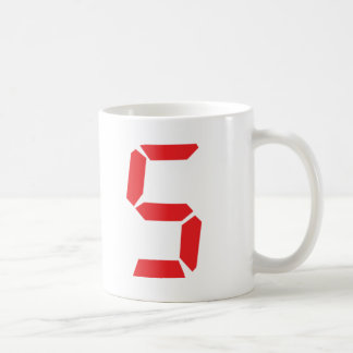 5 five  red alarm clock digital number coffee mug