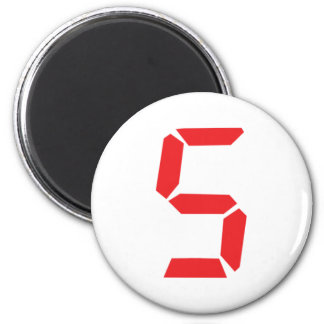 5 five  red alarm clock digital number magnet