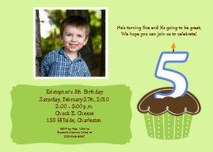 5 FIVE Year Old CUPCAKE PHOTO BIRTHDAY INVITE