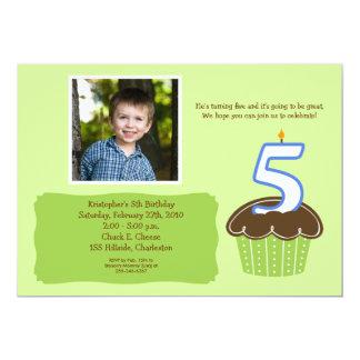 Fifth birthday boy cards zazzle 5 five year old cupcake photo birthday invite stopboris Gallery