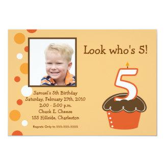 5 FIVE year old CUPCAKE PHOTO BIRTHDAY Orange Card