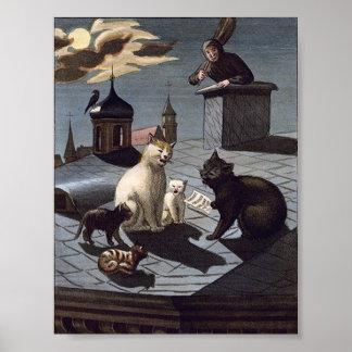 5 gatos con la hoja de música que cantan en un tej impresiones