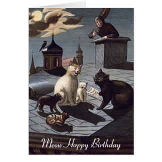 5 gatos que cantan en un tejado en la tarjeta de c