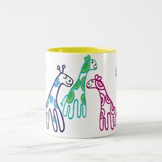 5 Giraffes Two-Tone Coffee Mug
