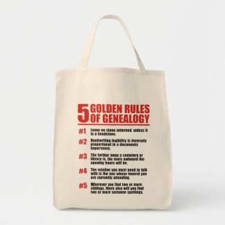 5 Golden Rules Of Genealogy Grocery Tote Bag