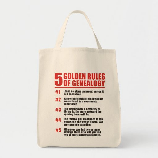 5 Golden Rules Of Genealogy Bag