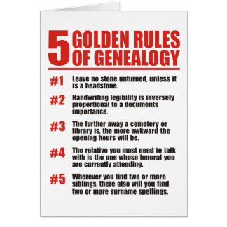 5 Golden Rules Of Genealogy Card